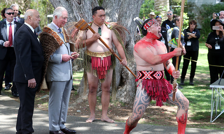 The couple were given a traditional Māori welcome, called a pōwhiri.