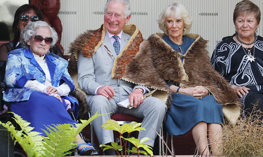 The couple met with Māori elders, including <strong>Naida Galvish</strong> (right), who translated speeches for them. 