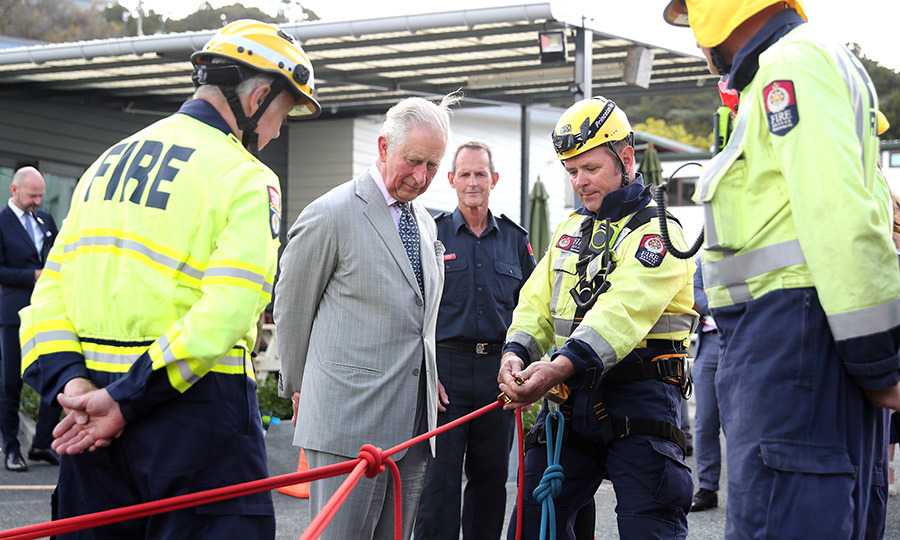 Charles was also given a demonstration while at the fire station.