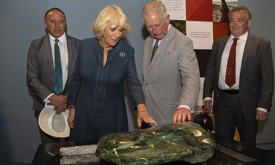 Camilla and Charles were also invited to touch a piece of pounamu (green stone). The Māori people make carvings from pounamu, which is a type of jade found throughout New Zealand. Pounamu is considered at taonga (treasure) in Māori culture and is protected under the Treaty of Waitangi. For centuries, the Māori have made tools using it, including toki (adzes), whao (chisels), whao whakakōka (gouges), ripi pounamu (knives), matau (fishing hooks), kākā poria (leg rings for fastening captive birds), weapons and more. It is also used in ornaments such as hei-tiki, hei matau and pekapeka (pendants) that are believed to possess mana, a unique power in Māori beliefs. 
