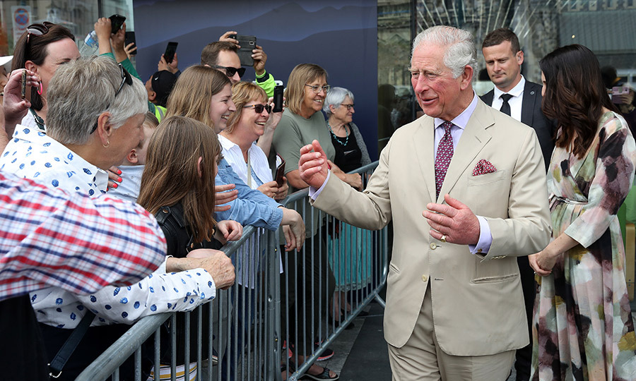 Charles was eager to talk with well-wishers who were waiting outside to meet him and Camilla.