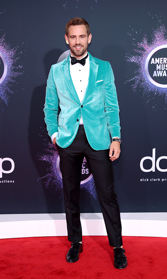 "<strong><A href=""/tags/0/nick-viall"">Nick Viall</a></strong> of <i><strong><a href=""/tags/0/the-bachelor"">The Bachelor</a></strong></i> chose a very unique look, opting for a tuxedo that was topped with a turquoise velvet jacket!