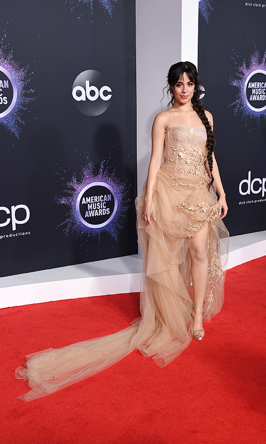 "<a href=""/tags/0/camila-cabello"">Camila Cabello</a></strong> stunned in this gorgeous blush tulle dress with a long train.