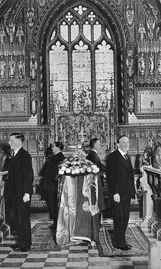 Upon <strong>King George V</strong>'s death at Sandringham in 1936, his body rested at the church before moving to Westminster Hall for public viewing.