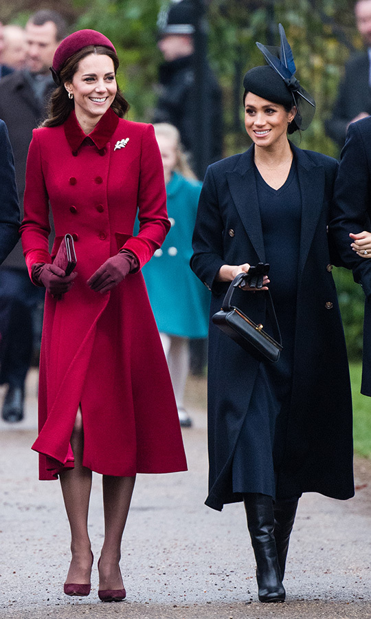 In 2018, the royal sisters-in-law each dressed according to their own style. Kate wore a tailored '40s look, while pregnant Meghan chose a minimal <strong><a href=/tags/0/victoria-beckham>Victoria Beckham</a></strong> number. 
