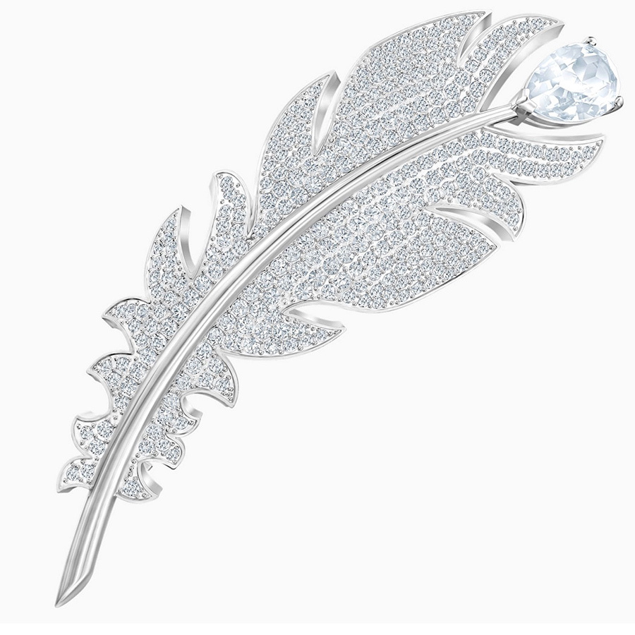 <strong><a href=/tags/0/swarovski>Swarovski</a></strong>'s Nice Brooch bears strong resemblance to the one Kate wore in 2015 and 2018, but is modelled after a feather instead of a leaf. It's coated in crystal pavé and is rhodium-plated. Better yet, it's on sale, discounted 25 per cent!