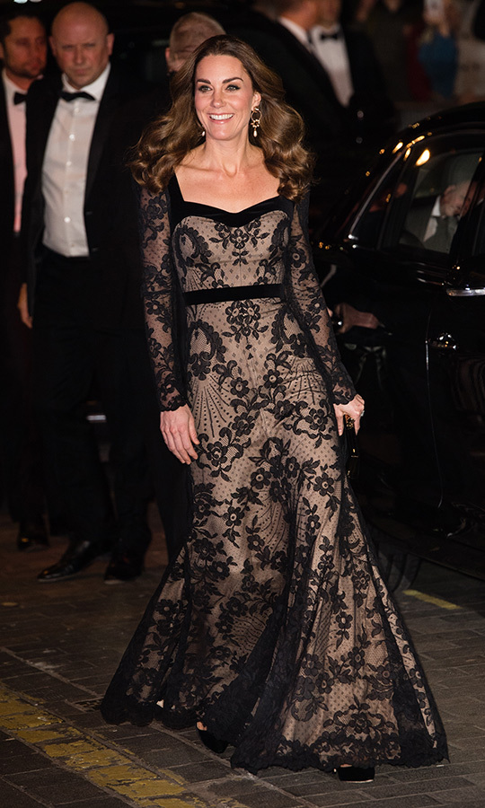 Just a few weeks ago, Kate stepped out in a gorgeous <strong><A href=/tags/0/alexander-mcqueen>Alexander McQueen</a></strong> black lace gown as she and <Strong><a href=/tags/0/prince-william>Prince William</a></strong> took in the Royal Variety Performance. She paired it with black heels and a matching clutch. Her accessories featured a lovely nod to Canada as well, as she wore <a href=/tags/0erdem><strong>Erdem</a></strong> earrings.