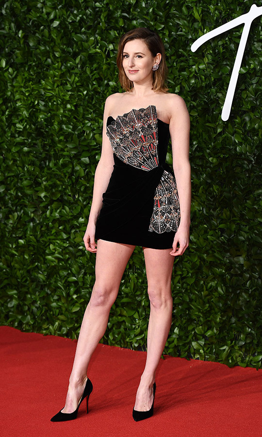 <strong>Laura Carmichael</strong> (better known as Lady Edith on <i>Downton Abbey</i>) wore a black mini-dress complete with huge silver accents resembling butterfly wings. It's kind of like a 2020 twist on 1920s flappers style!