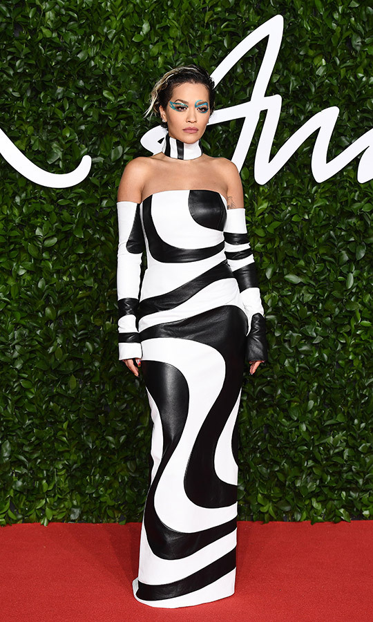 <strong><a href=/tags/0/rita-ora>Rita Ora</a></strong> looked unbelievable in a bespoke <Strong>16Arlington</strong> black-and-white leather gown with matching sleeves.