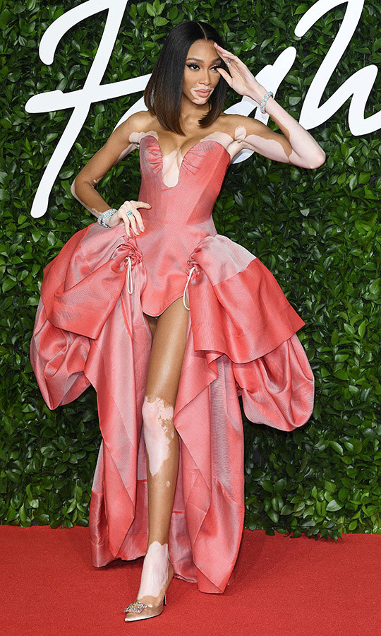 Canadian supermodel <strong><a href=/tags/0/winnie-harlow>Winnie Harlow</a></strong> looked fantastic in this incredible pink dress with unique cutouts.