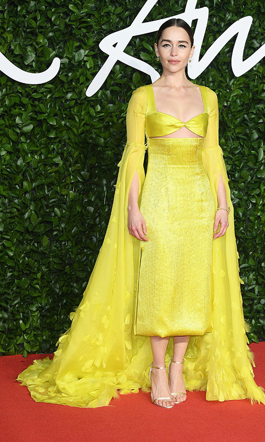 <strong><a href=/tags/0/emilia-clarke>Emilia Clarke</a></strong> married two unique styles with this bright yellow dress.