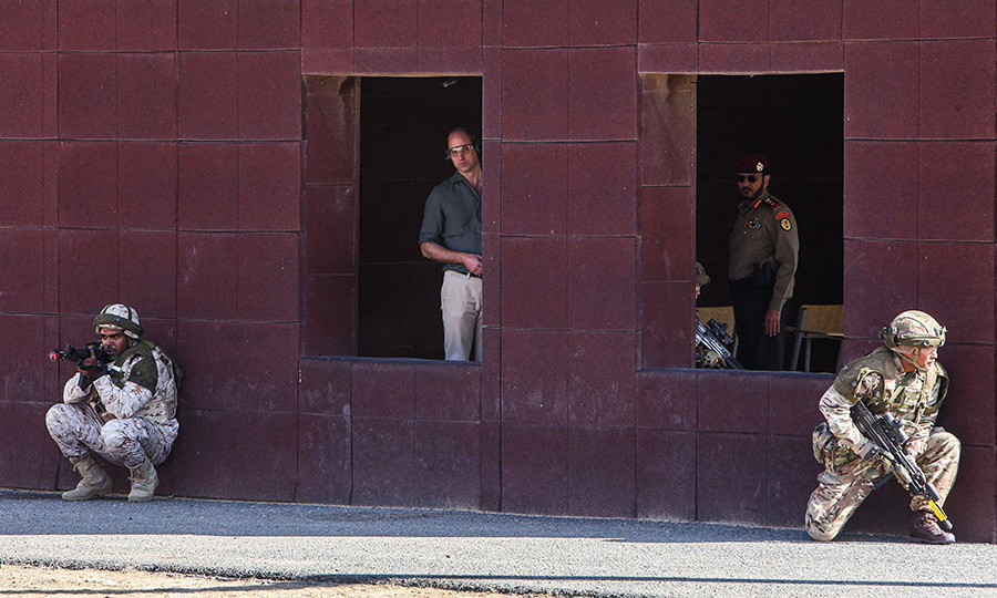 The Duke of Cambridge then watched the exercise from inside the base.