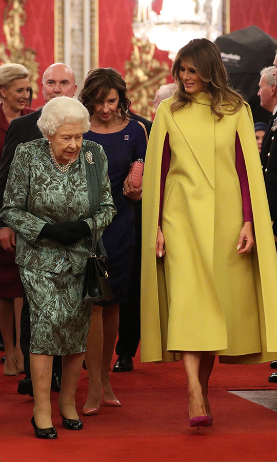 Melania spent some time talking to the Queen after the photo.