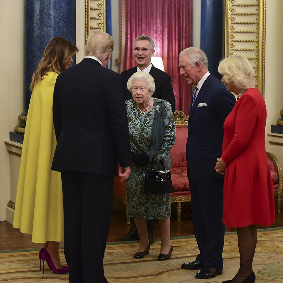 The Queen made rounds to every leader at the reception, and had what looked like a lively discussion with Donald and Melania and Charles and Camilla while NATO Secretary-General <Strong>Jens Stoltenberg</strong> looked on.