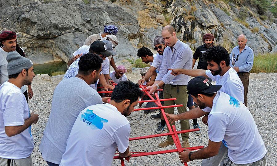 Following the discussion, William joined a group at an Outward Bound Oman demonstration. The group had been working on building a bridge, walking through the mountains and doing leadership exercises.