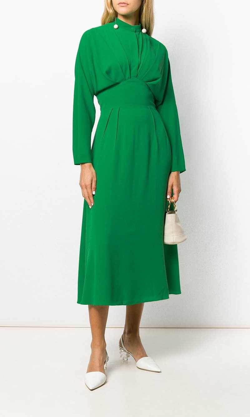 <p>Look just like the Duchess in this identical dress. The pleated midi style features a defined waist and button neckline. There's an invisible zipper on the back so it is easy to get in and out of it.