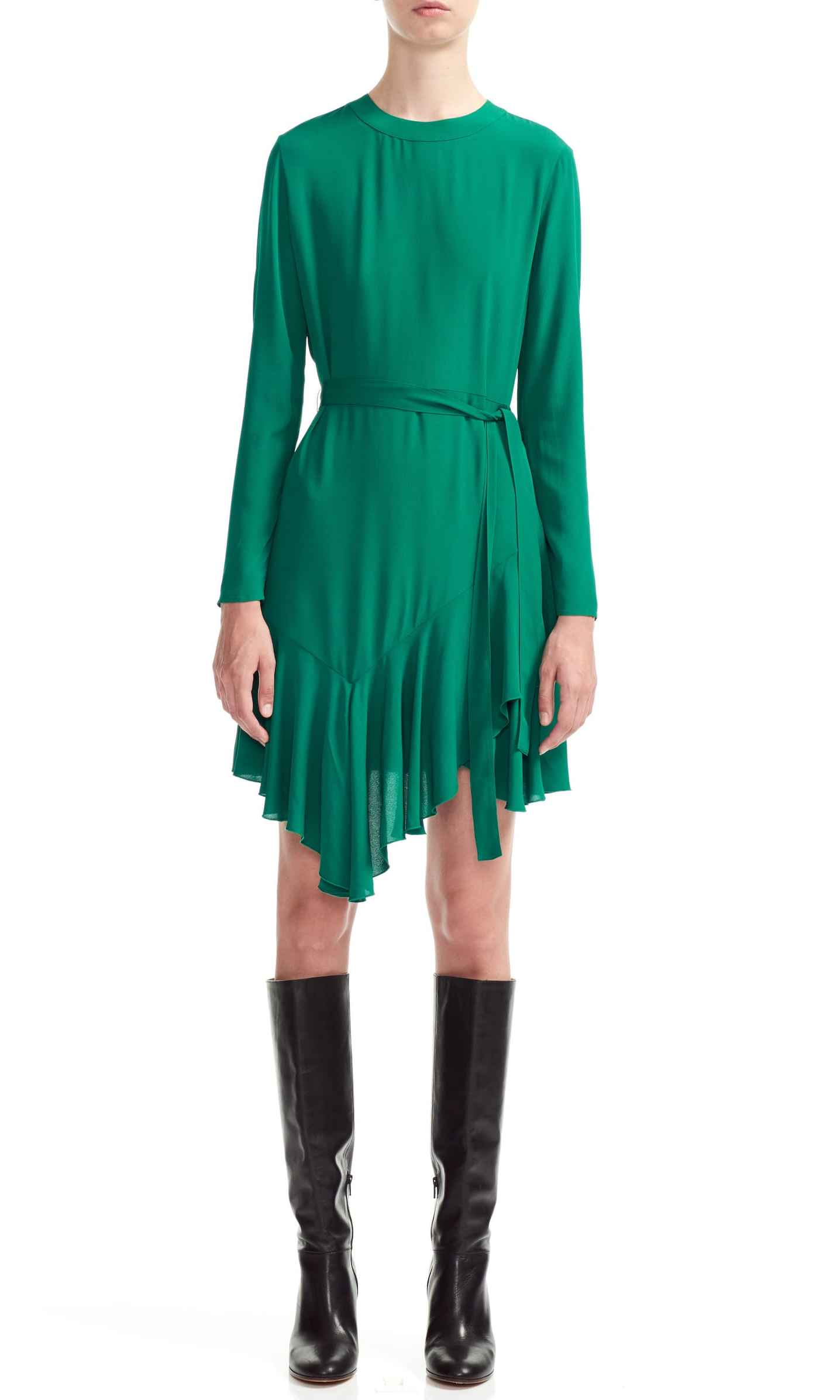 <p>This rich jewel tone will get you noticed! The rounded neckline gives way to a belted waist and an uneven ruffle skirt.