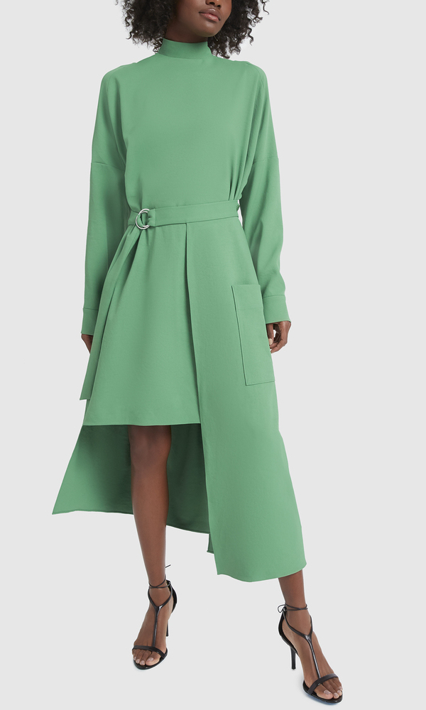 "<p>Two looks for one! This head-turning emerald dress features a removable ""belted apron skirt."" The raised neckline also has a D-link fastening in the back which draws attention to an unexpected cutout detail.