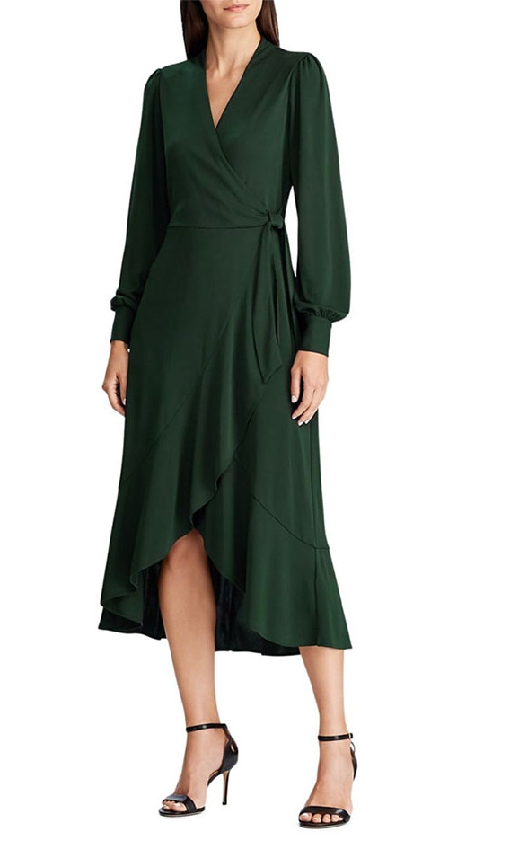 <p>This faux-wrap dress has an elegant ruffle that really highlights the silhouette. There is a concealed hook-and-eye closure and a self-tie belt at the waist.