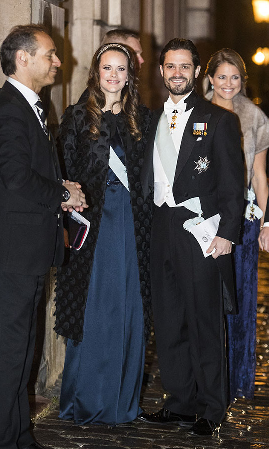 Sofia looked glitzy as she attend a formal gathering at the Swedish Academy on Dec. 20, 2017 in Stockholm, Sweden with Prince Carl Phillip. Her black textured coat and embellished headband added even more magic to her blue gown.<p>Photo: © MICHAEL CAMPANELLA/GC Images