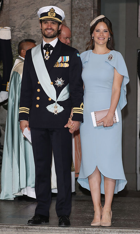 "Sofia's pale blue dress could be seen as a sweet tribute to the new addition to the Swedish royal family. She wore the pretty look to the christening of <strong><a href=""https://ca.hellomagazine.com/tags/0/prince-oscar"" target=""_blank"">Prince Oscar of Sweden</a></strong> at the Royal Palace of Stockholm on May 27, 2016 in Stockholm, Sweden.<p>Photo: © Andreas Rentz/Getty Images"