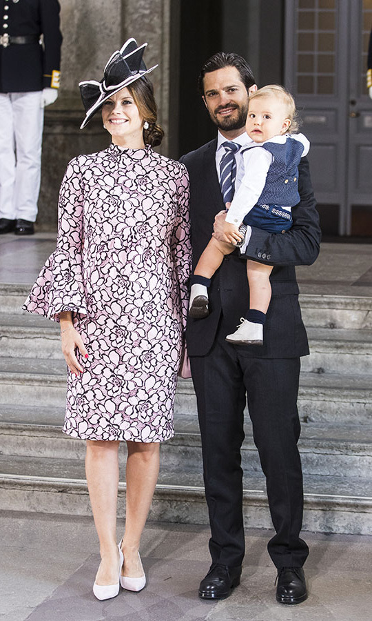 An expectant Duchess of Värmland and her family stepped out at the 40th birthday celebrations of <strong>Crown Princess Victoria</strong> at the Royal Palace in Stockholm, Sweden on July 14, 2017. Her ensemble was perfectly coordinated from the pink and black floral dress to her two-tone bow hat.<p>Photo: © MICHAEL CAMPANELLA/WireImage