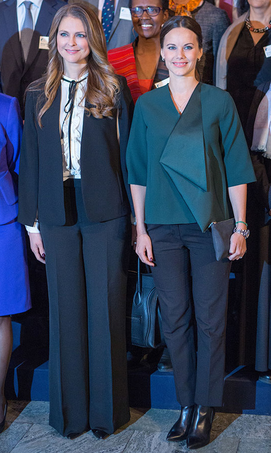 This green jacket she wore to the Global Child Forum at the Hall of State in the Royal Palace on Nov. 26, 2015 in Stockholm, Sweden had a streamlined silhouette, but didn't lack for details thanks to the pleating on the asymmetrical style. The hunter green shade really brought out her brunette hair!<p>Photo: © Anna Lu Lundholm/Getty Images
