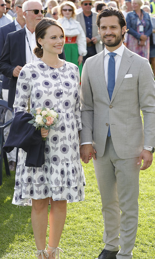 This bold floral number is the definition of a summer party frock. So, it is fitting that Princess Sofia of Sweden wore it to the celebrations of Crown Princess Victoria of Sweden's 40th birthday on July 14, 2017.<p>Photo: © Andreas Rentz/Getty Images