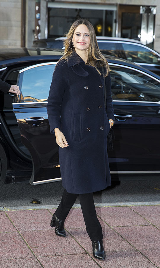 "Sofia showed how to bundle up in style while visiting the Business House (Naringslivets Hus) to attend the ""Philanthropy, entrepreneurship and research - the UN's global goal is being reached!"" conference on Oct. 24, 2019 in Stockholm.