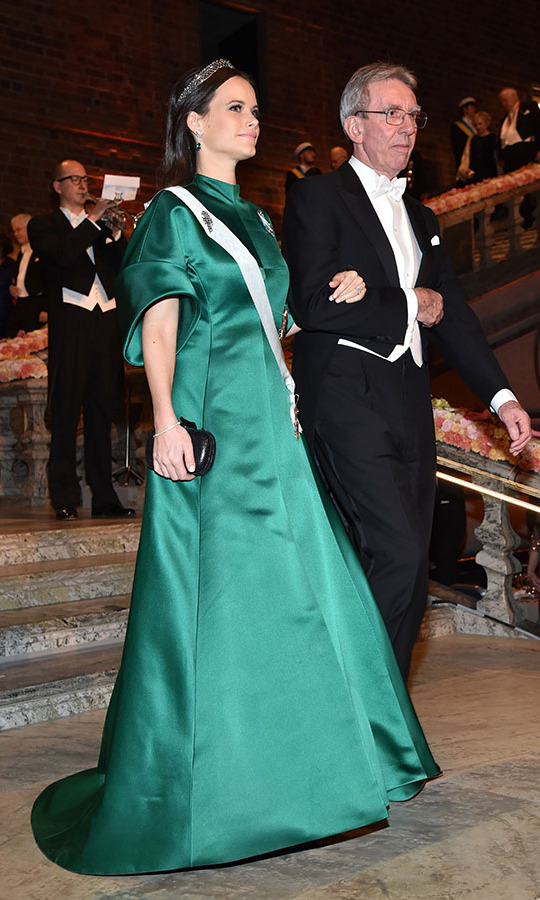 Princess Sofia of Sweden wears many colours, but she has stunned in green on a few instances. This time, she donned a silky jade gown to the Nobel Prize Banquet at City Hall on Dec. 10, 2016. She was accompanied by <strong>Professor Jean-Pierre Sauvage</strong>, laureate of the Nobel Prize in Chemistry.<p>Photo: © Pascal Le Segretain/Getty Images