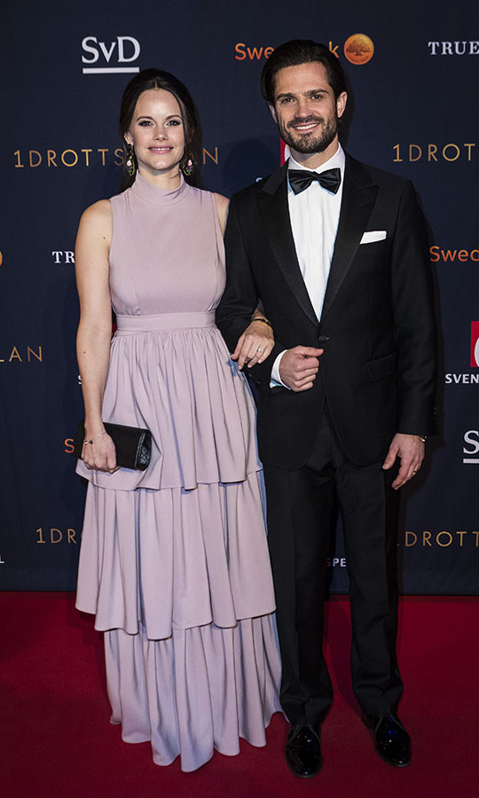 The Duke and Duchess of Värmland turned heads when they walked the red carpet at the annual Swedish sports awards gala on Jan. 15, 2018. Sofia's dusty pink tiered gown was a trendy-but-refined choice that no doubt excited royal watchers.<p>Photo: © Michael Campanella/Getty Images
