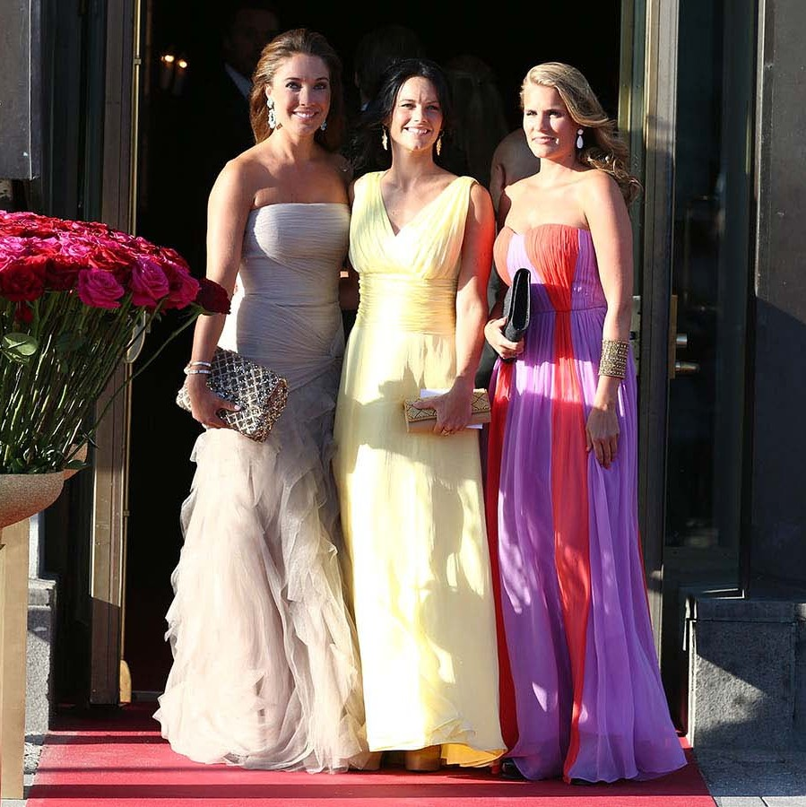 Before marrying Prince Carl Philip, one of Sofia's first big royal events was a private dinner ahead of the wedding of Princess Madeleine and Christopher O'Neill on June 7, 2013. The reality TV star shone in a gathered yellow gown. <p>Photo: © Andreas Rentz/Getty Images