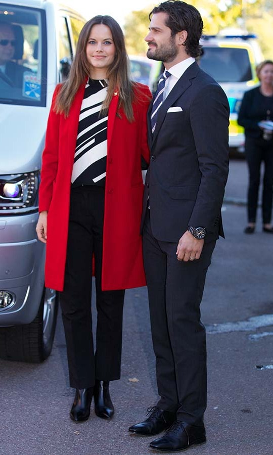 Princess Sofia of Sweden's visit to a consultant unit for refugees on Oct. 5, 2015 was another time she demonstrated she isn't afraid of bold colour or pattern. She wore both elements together with a tailored red coat and graphic black-and-white top.<p>Photo: © Ragnar Singsaas/Getty Images