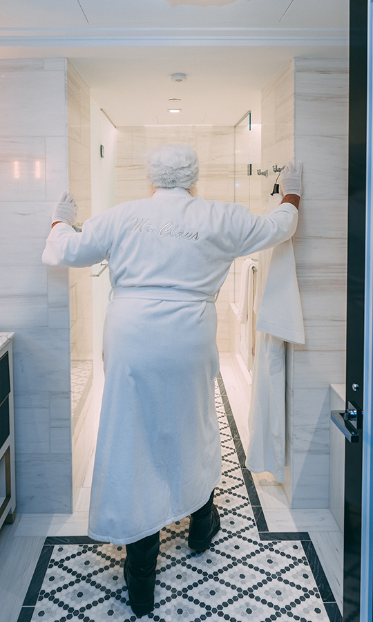 Then wrap yourself in a plush white Fairmont robe that literally has your name on it. 