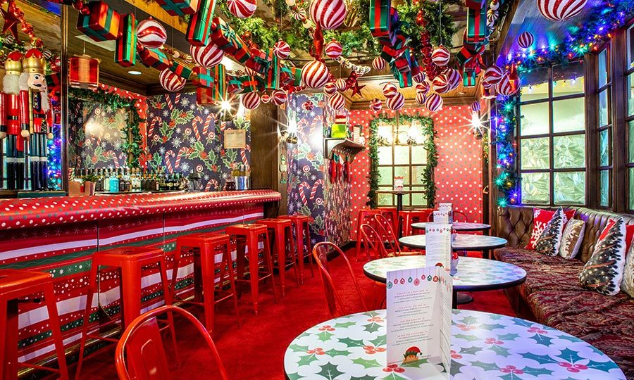 Or turn up the fun a few notches at kitschy red-and-green pop-up The Thirsty Elf (pictured). It's billed as Toronto's tiniest bar! Drinks are served in Santa and moose glasses and have monikers like Parched in a Pear Tree and Gin-Gle All the Way!