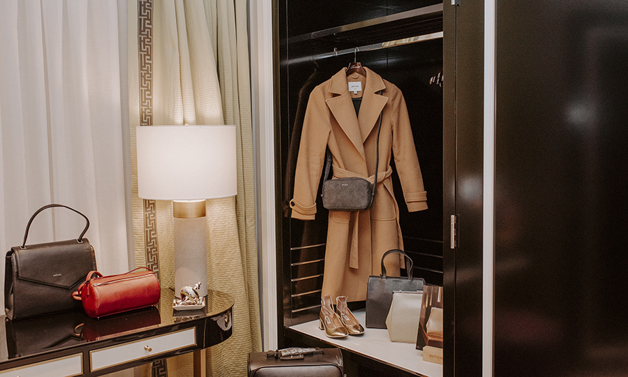 But don't fret if you buy too much to fit in your suitcase because a vegan Matt & Nat suitcase awaits inside your suite's closet and it's yours to wheel home.