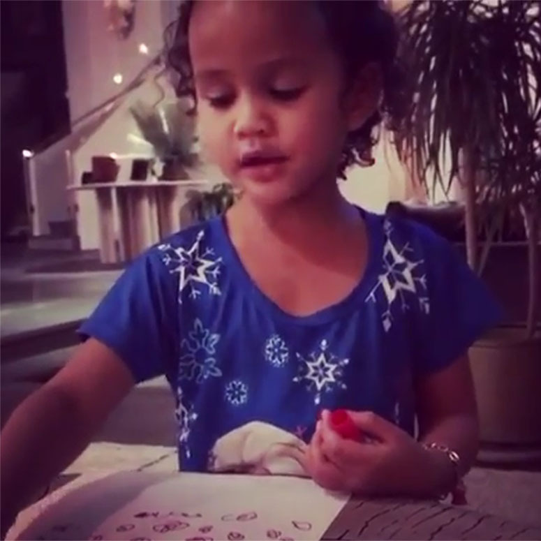 "<strong>Chrissy Teigen</strong><p></p>The supermodel <a href=""https://www.instagram.com/p/B5zEcTbJzb9/"" target=""_blank"">shared an adorable video</a> of her three-year-old daughter <strong>Luna</strong> writing out her list to Santa. How cute!<p></p>Photo: © Instagram/chrissyteigen"