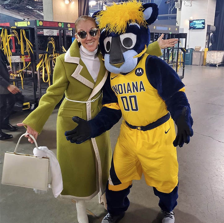 "Another city, a new mascot! Céline was happy to report that she ""made some new friends in Indianapolis"" on Dec. 4, 2019. She joked around with Boomer, the official mascot of the Indiana Pacers.</p><p>Photo: © Instagram/celinedion"
