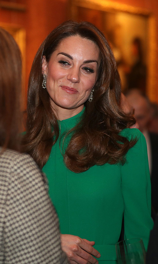 "<strong><a href=/tags/0/kate-middleton>Duchess Kate</a></strong>'s breathtaking green <Strong><a href=/tags/0/emilia-wickstead>Emilia Wickstead</a></strong> dress at the NATO leaders' reception held at Buckingham Palace on Dec. 3 screamed ""holiday party""! The Duchess of Cambridge paired the elegant look with the Queen's teardrop earrings and looked sophisticated and ready for Christmas at once!