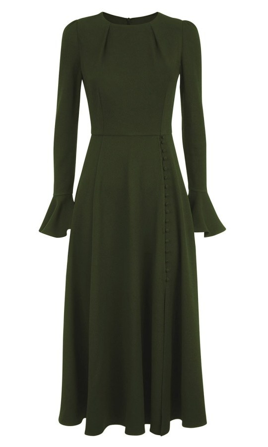 "Gorgeous in green! The Beulah London Yahvi olive green midi dress was <strong><a href=""https://ca.hellomagazine.com/fashion/royal-style/2019112280915/kate-middleton-olive-green-dress-beulah-london-kensington-palace/"" target=""_blank"">one of the pieces the duchess wore</a></strong> to kick off the holiday season. 