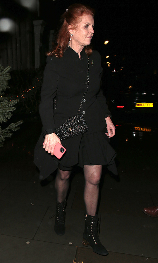 <a href=/tags/0/sarah-ferguson><strong>Sarah Ferguson</a></strong> wore an all-black ensemble. While she was there, Beatrice's father, <strong><a href=/tags/0/prince-andrew>Prince Andrew</a></strong>, was not in attendance.