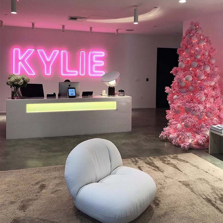 <h2>Kylie Jenner</h2><p>The beauty mogul shared a snap of the Kylie Cosmetics office, revealing that her pink Christmas tree matched the company's neon logo sign. 