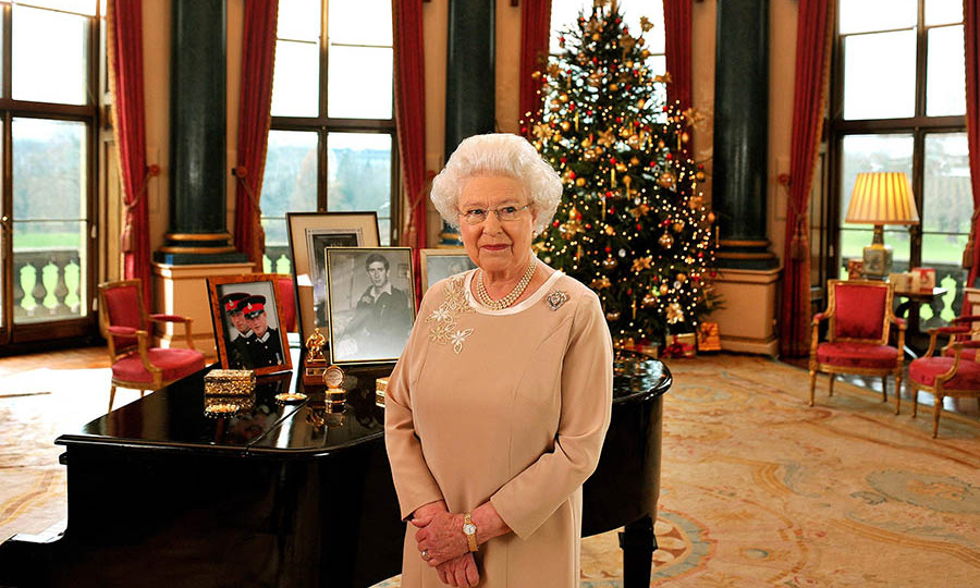 <h2>2008</h2></p><p>Her Majesty stands regally in the Music Room of Buckingham Palace after recording her Christmas speech in 2008. The floral embroidery on her dress brought out her jewelry and hair colour.</p><p>Photo: © Anwar Hussein Collection/Rota/WireImage