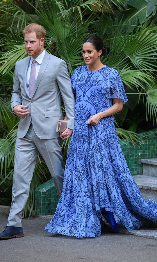 "<h2>Morocco, Feb. 25</h2></p><p>This cheerful blue eyelet dress by <Strong><a href=/tags/0/carolina-herrera>Carolina Herrera</a></strong> is another example of Meghan's incredible maternity wardrobe. She wore the gown with a <a href=""https://ca.hellomagazine.com/tags/0/dior""><strong>Dior</strong></a> clutch and <a href=""https://ca.hellomagazine.com/tags/0/cartier""><strong>Cartier</strong></a> earrings during the <a href=""https://ca.hellomagazine.com/royalty/02019022349995/prince-harry-meghan-markle-morocco-royal-tour-photos/""><strong>Morocco royal tour</strong></a> on Feb. 25.</p><p>Photo: © Tim Rooke/Pool/Samir Hussein/WireImage"