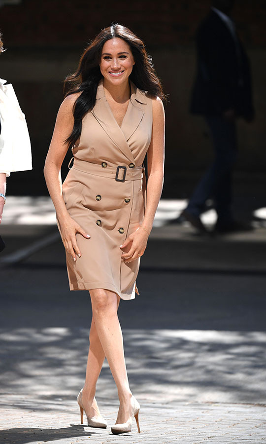 "<h2>Johannesburg, Oct. 1</h2></p><p>This belted dress by <strong><a href=""https://ca.hellomagazine.com/tags/0/banana-republic"">Banana Republic</a></strong> Meghan wore to the University of Johannesburg on Oct. 1 was a fan favourite! She accessorized with nude