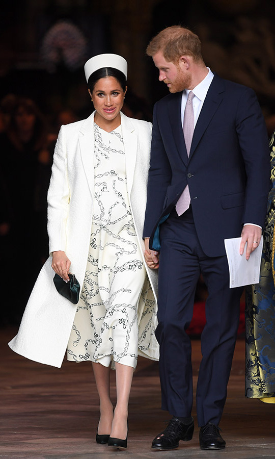 "<h2>Commonwealth Day</h2></p><p>On March 11 in London, Meghan was a vision in a printed midi dress from <a href=""https://ca.hellomagazine.com/tags/0/victoria-beckham""><strong>Victoria Beckham</strong></a>. The former <strong>Spice Girl</strong> is one of Meghan's favourite British designers. She <strong><a href=""https://ca.hellomagazine.com/fashion/02019031150294/meghan-markle-victoria-beckham-outfit-commonwealth-day-service"">rounded out the look</a></strong> with a coordinating coat and fascinator, and a pop of colour from moss green pumps.</p><p>Photo: © Karwai Tang/WireImage"