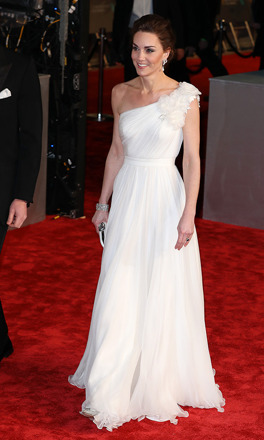 "<h2>BAFTA Awards, Feb. 10</h2></p><p>The whimsical white gown by <a href=""https://ca.hellomagazine.com/tags/0/alexander-mcqueen""><strong>Alexander McQueen</strong></a> Kate wore to the <a href=""https://ca.hellomagazine.com/royalty/02019021149828/kate-middleton-biggest-shock-baftas-red-carpet"" target=""_blank""><strong>2019 BAFTAs</strong></a> on Feb. 10 was a big fashion moment for royal fans! She looked absolutely splendid in the gathered style with floral appliqué.</p><p>Photo: © Neil Mockford/FilmMagic"