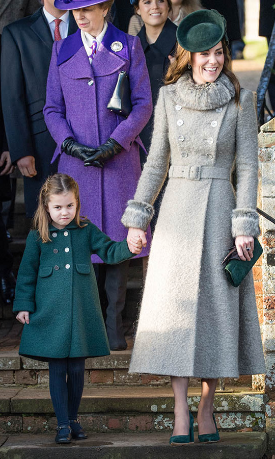 "<h2>Sandringham, Dec. 25</h2></p><p>Matching mother and daughter! It's no surprise that Duchess Kate ended the year on a fashion high while attending the <a href=""https://ca.hellomagazine.com/tags/0/christmas"" target=""_blank""><strong>Christmas</strong></a> Day Church service at Church of St Mary Magdalene on the <a href=""https://ca.hellomagazine.com/tags/0/sandringham"" target=""_blank""><strong>Sandringham</strong></a> estate. She was clad in a grey coat with furry trim paired with forest green fascinator, clutch and shoes. Her accessories adorably <a href=""https://ca.hellomagazine.com/royalty/02019122554204/kate-middleton-christmas-day-church-service"" target=""_blank""><strong>matched Charlotte's coat</strong></a>!</p><p>Photo: © Pool/Samir Hussein/WireImage"