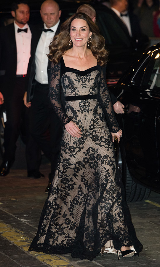 "<h2>London, Nov. 18</h2></p><p>Talk about dressed to impress! Kate turned heads in a black lace gown by Alexander McQueen and Erdem earrings for the <a href=""https://ca.hellomagazine.com/fashion/02019111853725/kate-middleton-alexander-mcqueen-erdem-royal-variety-performance"" target=""_blank""><strong>Royal Variety Performance</strong></a> at the Palladium Theatre on Nov. 18. And her look had one of her other best accessories, her radiant smile!</p><p>Photo: ©  Samir Hussein/WireImage"