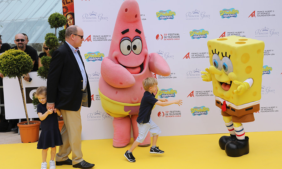 OMG. Monaco's Prince Jacques rushed toward SpongeBob SquarePants to give him a hug at the Monte Carlo Film Festival on June 16. Princess Gabriella seemed a bit hesitant! 